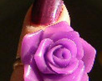 Purple, Big PINK or Melon Orange- Vintage Victorian Rose Cabochon Ring  Adjustable
