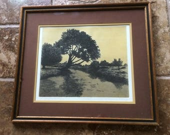 "Signed - Francis Kelly - Etching Aquatint ""River Bank"" Limited Edition #28/50"