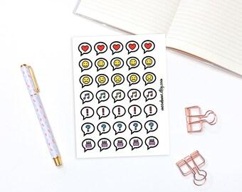 Speechbubble decorative planner stickers - 35 planner stickers, speech bubble stickers, icon stickers, reminder stickers, bujo stickers