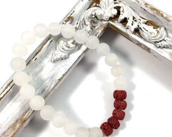 Frosted white jade diffuser bracelet