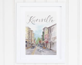 Watercolor Knoxville Skyline City Print | Knoxville Watercolor Art | Downtown Knoxville Tennessee Painting | Gay Street | Tennessee Theatre