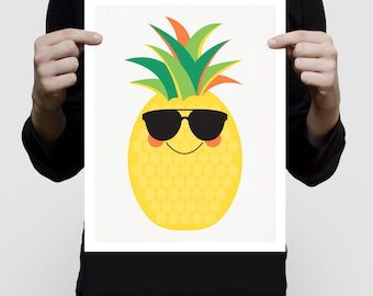 pineapple print pineapple art - pineapple decor, pineapple wall art, summer nursery art, tropical nursery decor, fruit print fruit artwork