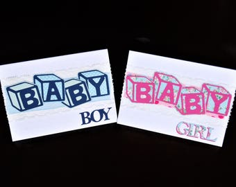 Handmade Greeting Cards - Baby Boy and Baby Girl Cards - Cheerful Cards to Welcome a New Arrival