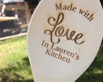 Made with Love Engraved Wood Spoon, Personalized spoon, wooden spoon, wedding favor, shower favor, engraved spoon, prize