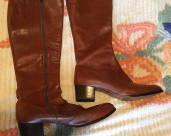 1970's Cognac Leather Knee High Boots Size 11/12!!