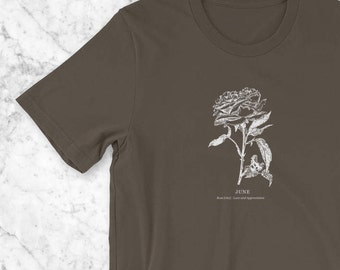 June Birthday T-Shirt, Birth Flower Vintage Botanical Illustration Birthday Gift for Her, Mom Gift of Child's Birth Flower, Rose