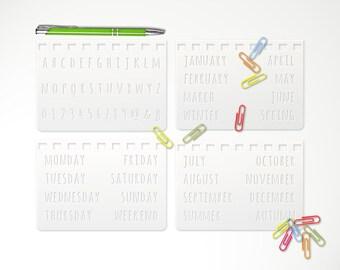 4 Bullet Journal Stencils Set • Alphabet Numbers Week Days Months 4 Seasons Calligraphy 3.5 x 5 Planner Bujo Starter Kit TN Notebook • 06B