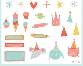 Bright Birthday Invitation Set CLIP ART