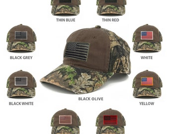 US American Flag Patch Mossy Oak Realtree Camo Adjustable Cap - CHOCOLATE  (C807-CHOC)