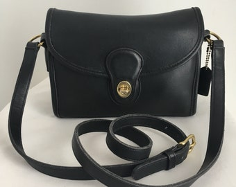 Vintage Coach Devon Bag Black Leather, Style 9908, Made in the United States