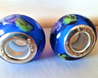 2 blue flowers pink green 14 mm silver plated European beads, Charms big hole Lampwork Glass Beads