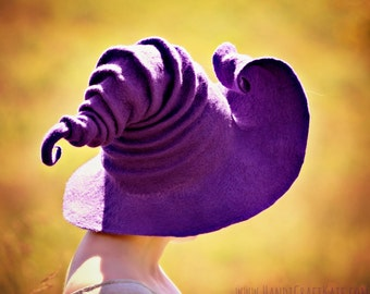 Costume Hat. Curled Brim Witch Hat. Wizard Hat. Fantasy Hat. Cosplay Hat. LARP.