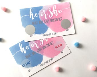 10 Personalized Gender Reveal Party Scratch Off Card - Baby Shower Game - Gender Reveal - He or She - Blue or Pink Scratch Offs - Set of 10