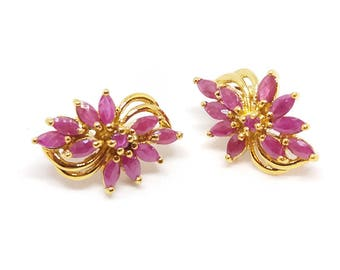 Earrings - type studs-gold plated - ref335 - 22x12mm - Ruby