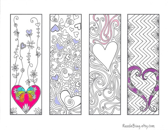 Diy bookmark printable coloring page zentangle inspired for Zentangle per bambini
