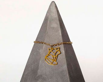 Fox Brass Necklace Pendant