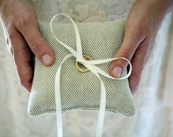 Ring Bearer Pillow - Mini Ring Pillow - Beige Wedding Ring Pillow - Ring Bearer Ideas - Minimalist Ring Pillow - Simple Ring Pillow