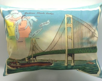 Mackinac Straits Bridge Vintage Postcard Pillow