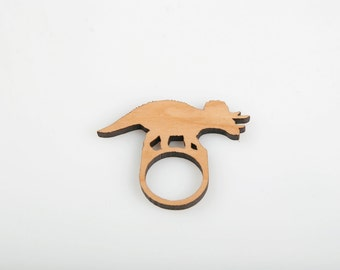 Triceratops Dinosaur Ring. Laser Cut Ring. Dinosaur Stacking Ring. Perspex or Wood Ring. Statement Ring. Novelty Ring. Gifts for Her.