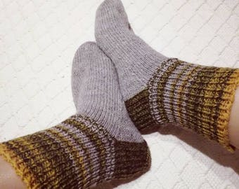 Wool socks mens Big size boot SOCKS granite gray browns greens d yellow Handknitted Warm Durable Cozy winter Gift idea Handmade in  FINLAND