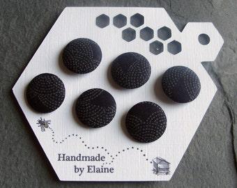Fabric Covered Buttons - 6 x 19mm Buttons,Handmade Button,Navy Midnight Indigo Denim Ocean Dark Blue Seigaiha Japanese Wave Zen Buttons 2465