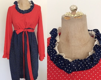 1980's Red & Blue Polka Dot Babydoll Dress Size Medium Large by Maeberry Vintage