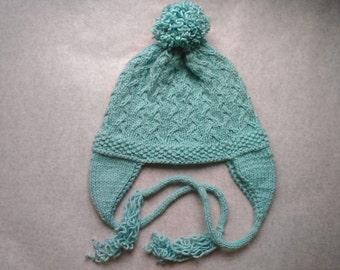 Mint Cabled 'Chullo' Ear Flap Cap