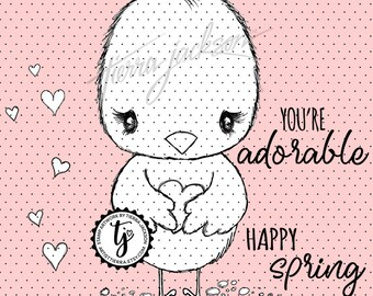 Lovebug Chick with hearts plus two sentiments - instant download digital stamps by Tierra Jackson