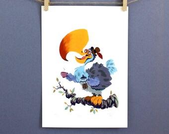 Dodo bird - Coffee lovers gift - But first coffee - Wall art - Coffee - Art print - Coffee lover- Housewarming gift - Home decor - Dodo