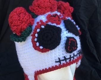 Sugar Skull Earflap Hat, Halloween, Day of the Dead, Dia de los Muertos, Women's Hat, Costume Hat, One of a Kind, Sugar Skull Costume, OOAK