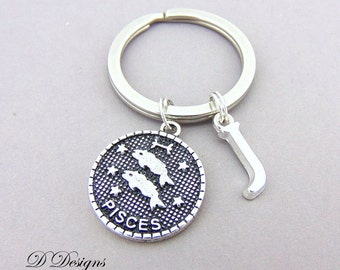 Pisces KeyRing, Pisces  KeyChain, Star Sign KeyChain, Personalised Key chain, Pisces Gifts, Starsign Jewellery, Zodiac Gifts