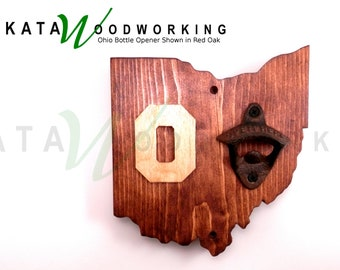 Ohio Wood Cut-out Bottle Opener with Block Letter - Wall Mount - Handmade!