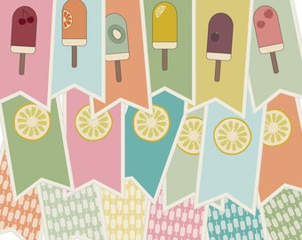 summer party decorations - ice cream banner - garden party banner - garland - printable banner - ice pop garland