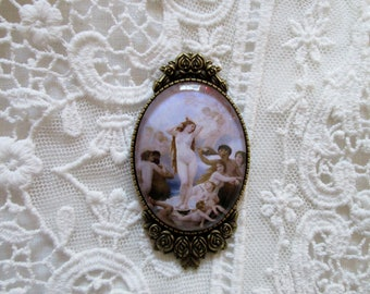 The Birth of Venus,Reproduction of oil on canvas,Willaim Adolphe Bouguereau ca. 1879,Bohemian PreRaphaelite Jewelry,Brooch,Gift Giving Ready