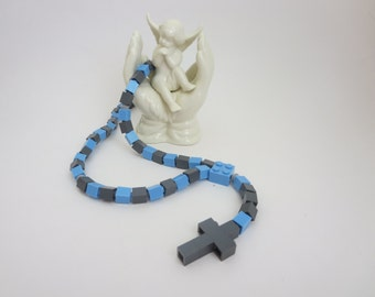 Catholic Rosary Made of Lego Bricks - Light Blue and Dark Gray Kids Rosary - Boy First Communion Gift