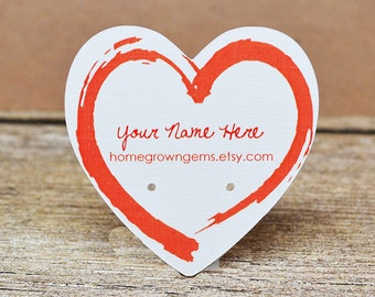 Heart Earring Display Cards - Customized with your Text - Kraft Brown - Jewelry Display - Packaging