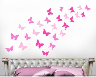 Shades of Pink Bedroom Decor, Butterfly Decals, Butterfly Decor for Girls Room, Butterflies Wall Decals (0178c6v)