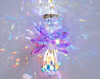 m/w Swarovski Crystal NEW Medium Size RARE VIOLET Aurora Borealis Rainbow Making Guardian Angel for Car or Home Lilli Heart Designs