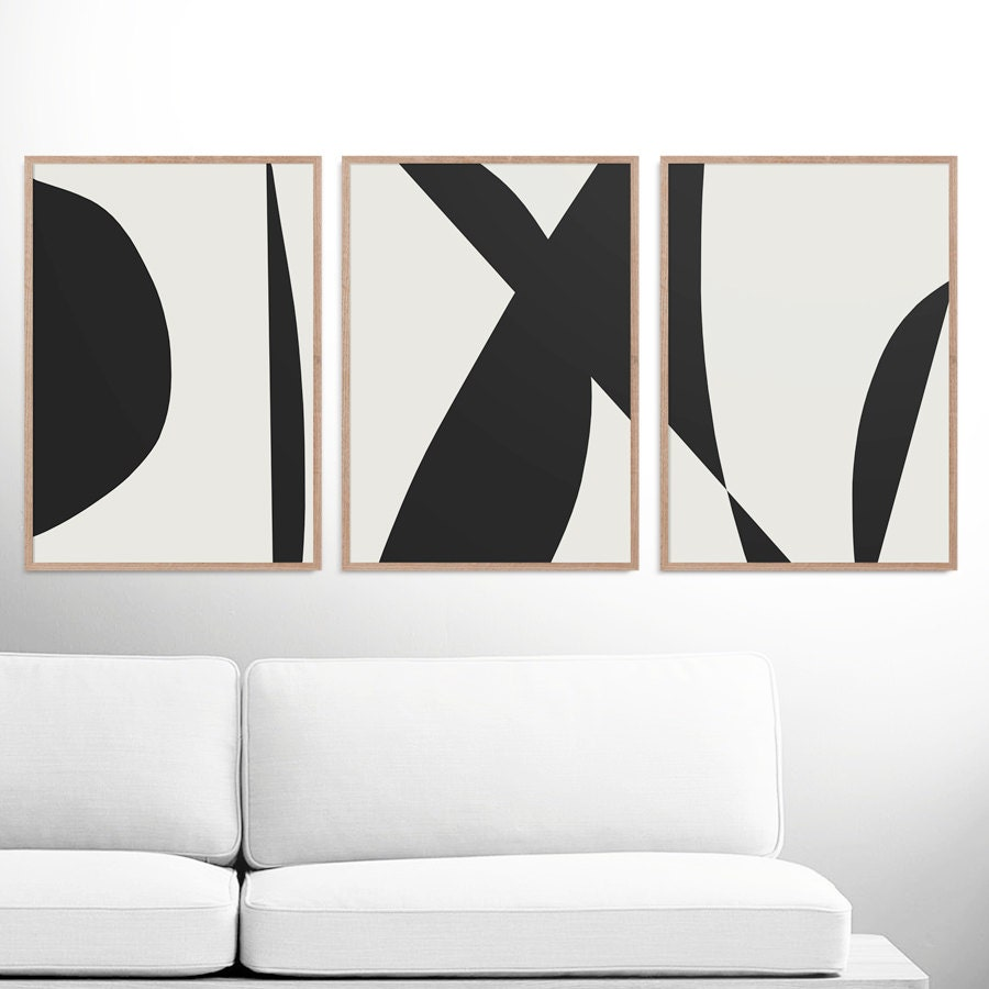Abstract art print set 3 black white abstract art for Minimal art wall