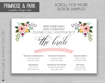 Call Anyone But the Bride Cards • Wedding Welcome Bag • Wedding Contact Card