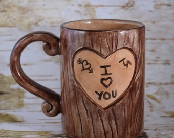 Lovers Mug, Tree Carving Mug, Tree Mug, Valentine's Gift, Engagement Mug, Personalized Mug, Carved Tree Stump Mug, Initials Carved on Tree