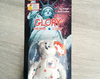 NIP Ty Beanie Bear International USA Glory The Bear McDonalds Toy Collectible 1999
