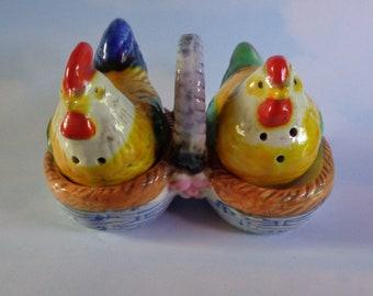 Vintage Nesting Rooster and Hen Salt & Pepper Shakers - Excellent!