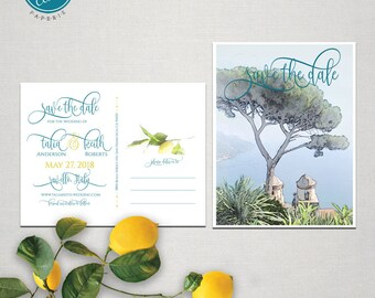 Ravello Amalfi Coast Italy illustrated Destination wedding invitation Save the Date Card postcard sketch drawing - Deposit Payment