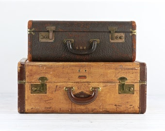 Vintage Suitcases Stack Of Suitcases Vintage Luggage Tweed Suitcase Stack Old Suitcases Retro Suitcases Suitcase Stack Old Luggage