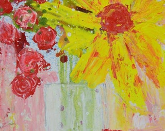 Yellow Still Life with Red Roses Floral Painting Print. Yellow Flower Wall Art Print. Office Decor. 206