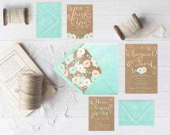 Kraft Wedding Invitations w/ Mint & Peach Flowers with RSVP Cards / Rustic Chic Weddings / PRINTED Wedding Cards in Mint Green n Coral Peach