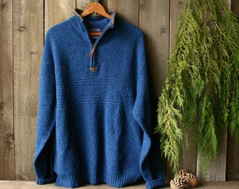 Mens Pendleton Wool Sweater Pullover Cobalt Blue With Leather Trim Vintage From Nowvintage on Etsy