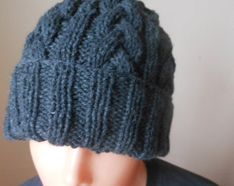 Cable Knit Slouchy Beanie Hat Acrylic Dark Gray Man Woman Unisex Hand Made