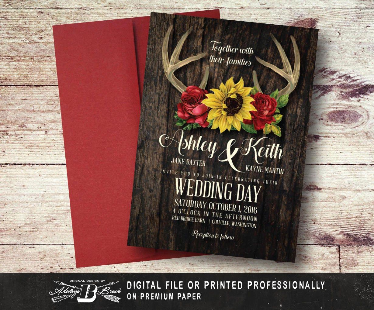 Fall Wedding Invitation Printed OR Digital File Deer